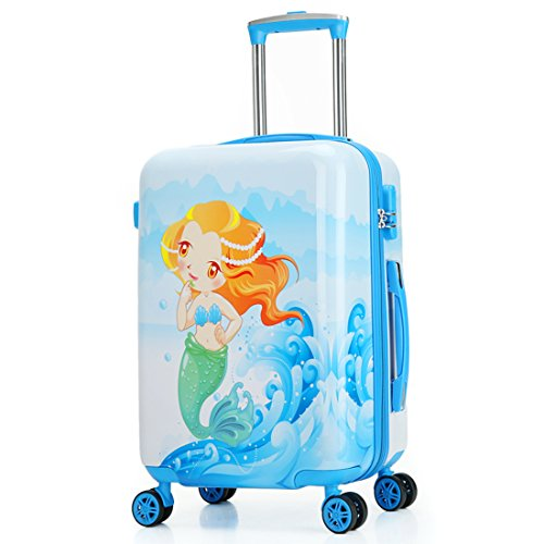 Kids Luggage Carry On Luggage With Spinner Wheels Toddlers Teenage Children Boys And Girls Travel Trolley Case (20inch, Blue mermaid) by TOKERS