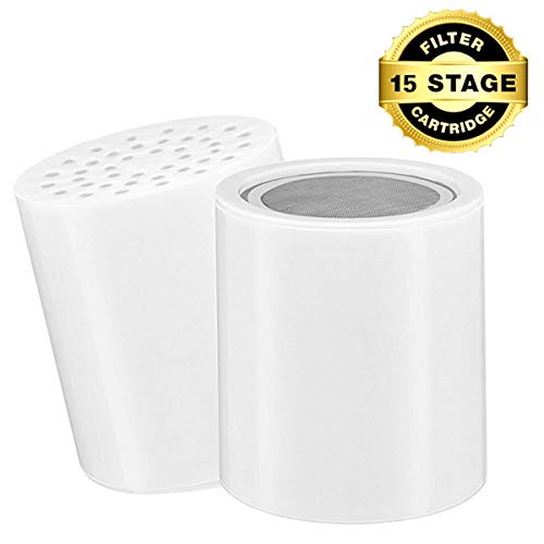 Replacement 15 Stage Shower Filter Cartridge - Longest Lasting High Output Universal Shower Filter Blocks Chlorine Metals Toxins,Fits the Shower Filters like AquaHomeGroup CaptainEco Homspal and etc