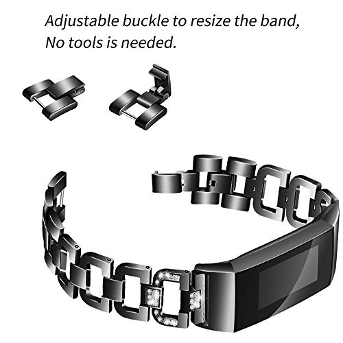 ❤️MChoice❤️Stainless Steel Diamond Bracelet Watch Replacement Band Strap for Fitbit Charge 3 (Black)