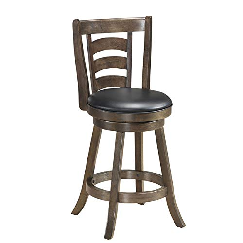 COSTWAY Vintage Bar Stools, Accent Rubber Wooden Swivel Bar Backed Dining Chair, Fabric Upholstered 360 Degree Swivel,Cushioned Seat, Perfect for Dining and Living Room Height 24