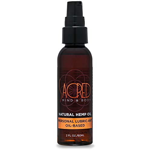 Sacred Mind & Body All Natural Non Greasy Hemp Infused Personal Oil Based Lubricant, 2 Ounce