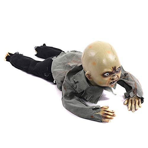 Huilier Animated Crawling Baby Zombie Scary Ghost Babies Doll Haunted Halloween Decor Props Supplies -