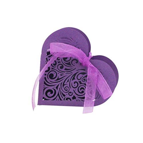 20x Amor Corazon Ahuecar La Cinta Fiesta De La Boda Caja De Regalo del Caramelo De Favorecer Purpura