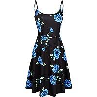 moosungeek de las mujeres impresión floral playa vestido Strappy ajustable sin mangas Verano Swing Vestido
