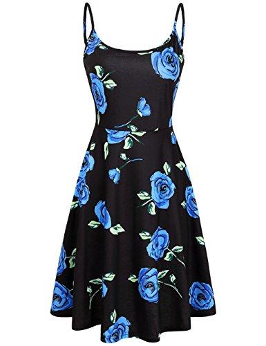 MOOSUNGEEK Women's Floral Print Beach Dress Adjustable Strappy Sleeveless Summer Swing Dress Blue Flower