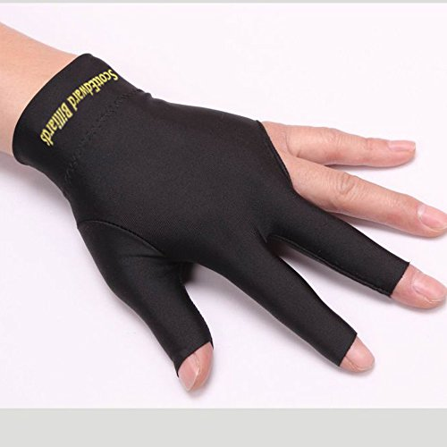 Scott Edward 10pcs per Pack, 3 Fingers Billiard Gloves Pool Cue Gloves Spandex Lycra for Left Hand Men/Women, Black