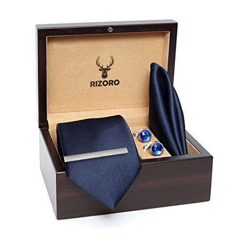 Rizoro Mens Plaid Micro Self Silk Solid Navy Necktie Gift Set With Pocket Square Cufflinks Brooch Pin Men Tie Clip Formal Tie With Wooden Box For Gifting (PLSH_48, Free Size)