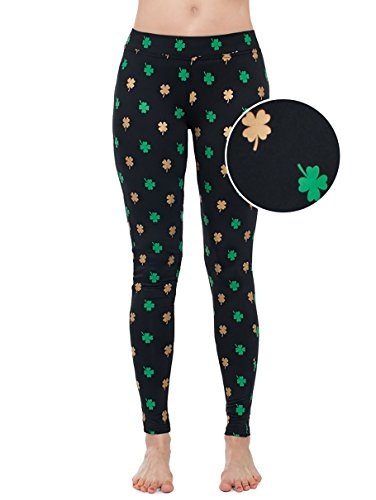 Women's Green St. Patrick's Day Leggings - St. Paddy's Day Tights Pants for Ladies (Gold Foil, Large)