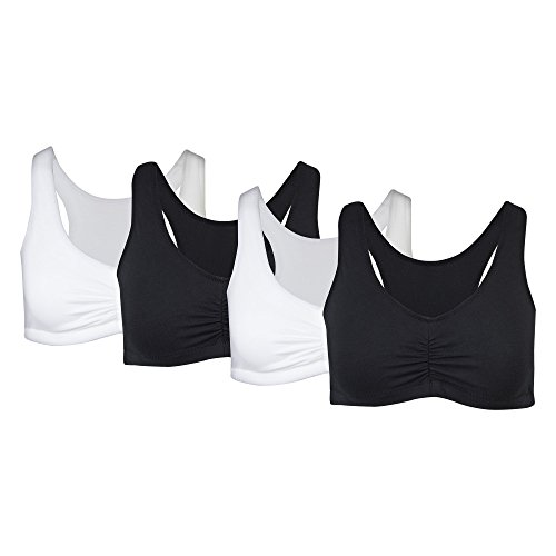 Gildan Women's Seamless Comfort Bra, 4 Pack, Assorted Solids, Large