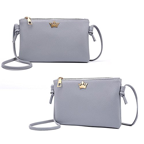 Bag Widewing Shoulder Crown Casual PU Zipper Leather Women Light Bags Grey Crossbody wRq4B