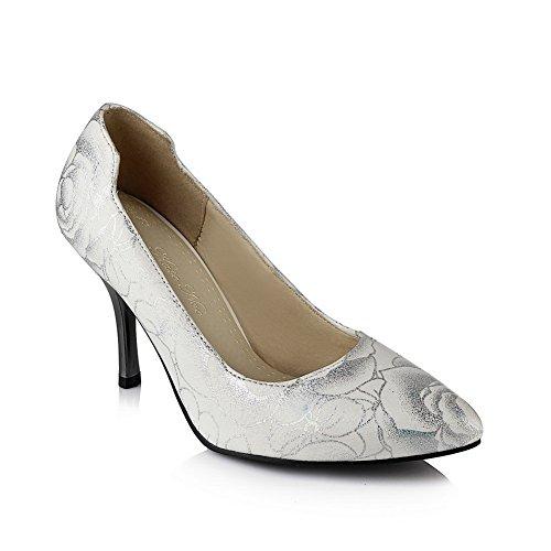 Bala-estampado Mujer-gatito Gatito-talones Imitación Cuero Bombas-zapatos, Blanco (blanco), 35