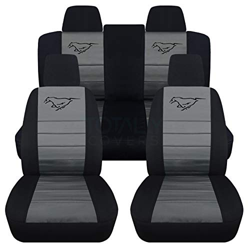 Totally Covers Fits 2011-2014 Ford Mustang Seat Covers w Pony: Black & Charcoal - Full Set (23 Colors) Coupe/Convertible V6/GT Solid/Split Bench 50/50 5th Gen 2012 2013