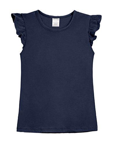 City Threads Girls' All Cotton Short Flutter Sleeve Ruffle Top Blouse Shirt For Summer Play School Parties Stylish SPD Sensory Friendly, Navy, 16