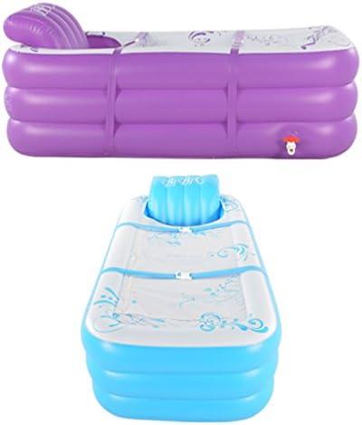 折りたたみインフレータブルバスタブアダルト風呂バレルプラスチック増粘キープの暖かい座っできます (Color : BLUE)