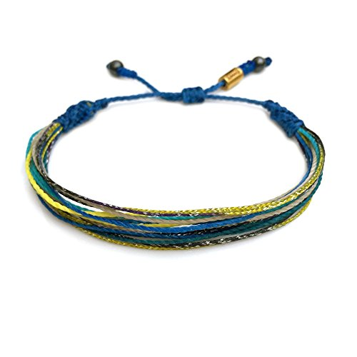 Surfer String Bracelet in Blue, Yellow, Purple, Tan for Men and Women: Handmade Pull Cord Adjustable Surf Bracelet with Hematite Stones by Rumi ()