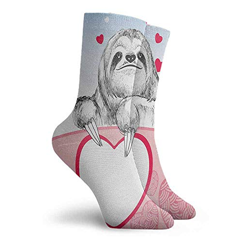 Sloth Patterned Socks Colorful Patterned Dress Socks Pink Pale Blue Black (Pink Sock Monkey Lovey)