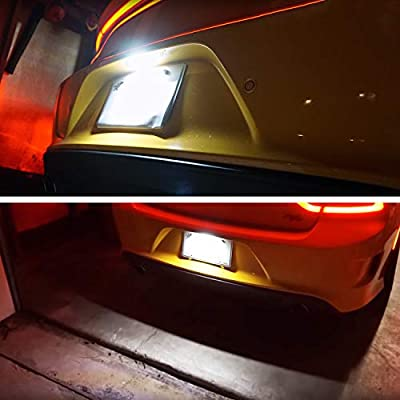 RUXIFEY LED License Plate Lights Replacement Compatible with 2015 to 2020 Dodge Charger Challenger Pacifica Jeep Compass: Automotive