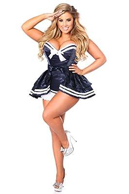 Daisy Corsets Women's Plus-Size Top Drawer Plus Size 4 Pc Navy Sailor Corset Costume