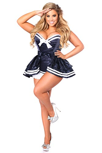 Daisy Corsets Women's Plus-Size Top Drawer Plus Size 4 Pc Navy Sailor Corset Costume, Navy Blue, 3X (Sexy Corset Costumes)
