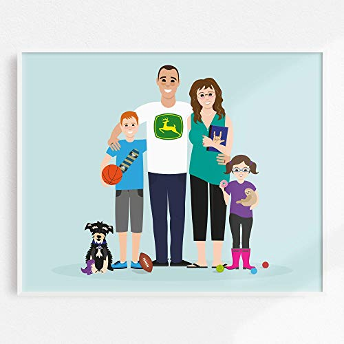 Custom Family Portrait Illustration, Personalized Family Picture, Custom Couple Portrait, Anniversary Gift, Wedding Gift, Engagement Gift, Family & Pets - more sizes and colors available!