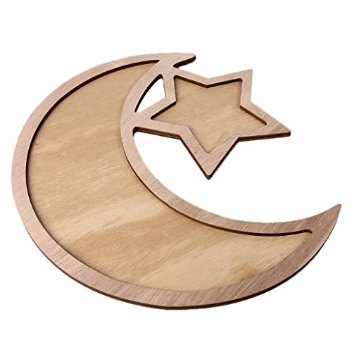OrchidAmor Wooden Artistic Eid Mubarak Party Serving Tableware Tray Display Wood Decoration ()