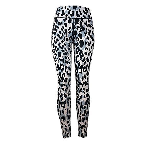 Women Leopard Print Yoga Pants Tummy Control for Women Skinny Pants Blue