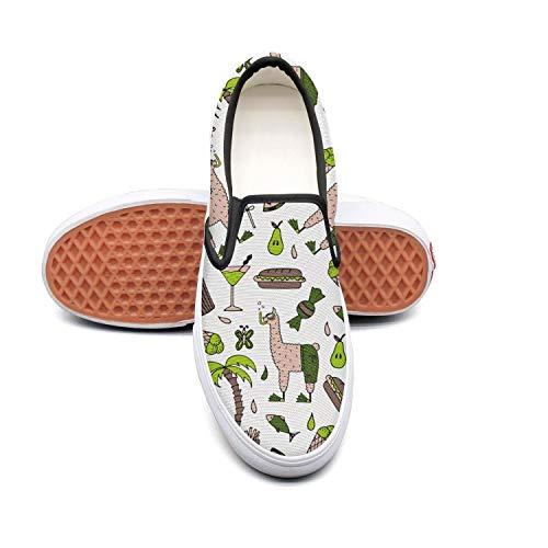 YMOMY Swim Llama Hamburger Ice cream Black Canvas Sneakers for Men Lo-Top Skid-Proof Asics Walking Shoes by YMOMY
