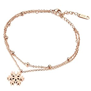 Keybella Anklets for Women Girls Ankle Beads Snowflake Chains Bracelets Adjustable Beach Anklet Foot
