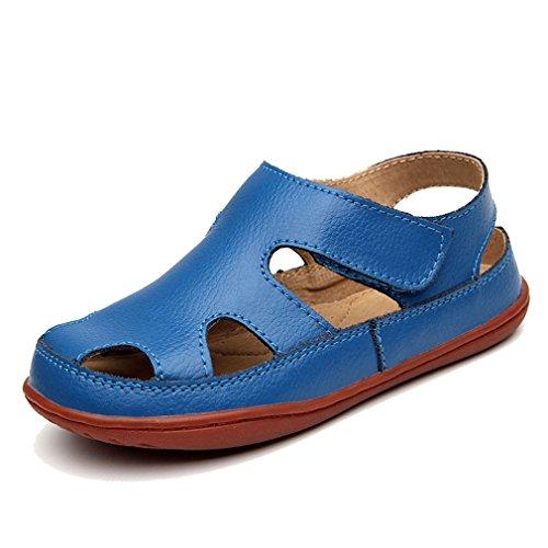 KVbaby Jungen Mädchen Geschlossene Sandalen Aus Weichem Leder Sandalen Kinder Outdoor biegsame Sohle Trekkingsandalen Lauflernschuhe Klettverschluss Blau