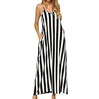 JustWin Ladies Sling Bag Stripe Maxi Dress 's Casual Loose Flowy Striped Long Maxi Dress Sundress with Pocket Cocktail Dress