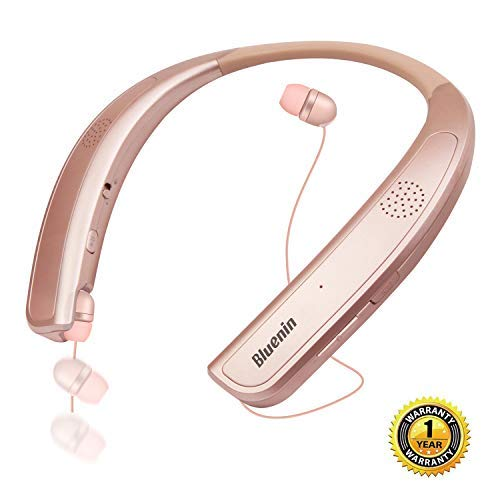 Bluetooth Headphones Speaker 2 in 1,Bluenin Neckband Wireless Headset Wearable Speaker True 3D Stereo Sound Sweatproof Headphones with Retractable Earbuds Built-in Microphone (Rose Gold)