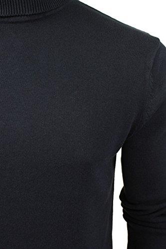 Hume Roulé Soul Brave Entonnoir Designer Haut Col Coton Tricot Marine Bleu Hommes Pull wHa0E0