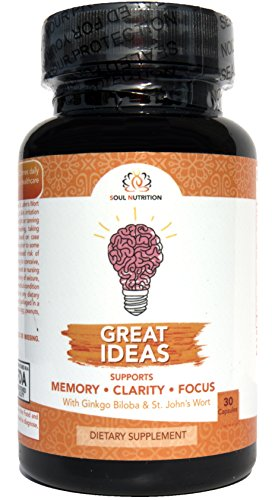 Great Ideas - Extra Strength Brain Supplement for Focus, Energy, Memory & Clarity – Mental Performance Nootropic – Physician Formulated Brain Booster with Super Ginkgo Biloba, St. John's Wort, More by Soul Bee