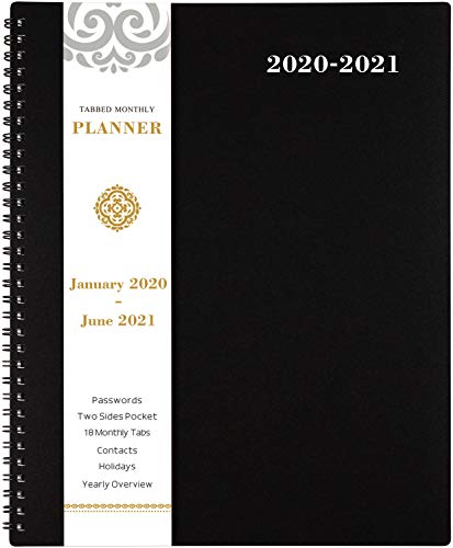 """2020-2021 Monthly Planner - 18-Month Planner with Tabs & Pocket & Label, Contacts and Passwords, 8.5"""" x 11"""", Thick Paper, January 2020 - June 2021, Twin-Wire Binding - Black by Artfan"""