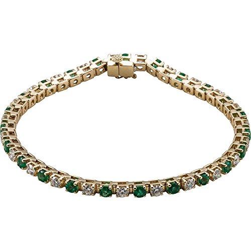 14K Yellow Gold Emerald & 2 1/3 CTW Diamond Bracelet