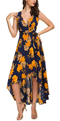 Kormei Womens Sleeveless Wrap V Neck Floral High Low Party Long Maxi Dress with Belt S Blue&Yellow