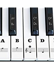 IHUKEIT Piano Stickers for Keys - Removable Piano Key Stickers for 88/61/54/49/37 Keyboards Full Set Black and White Key Music Note Stickers for Both Adult and Kids Beginners - Leave No Residue