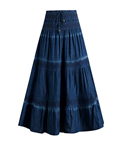 Femirah Women's Bohemian Embroidered Flare A-Line Smocked Waist Long Maxi Denim Skirt (Waist 26.4