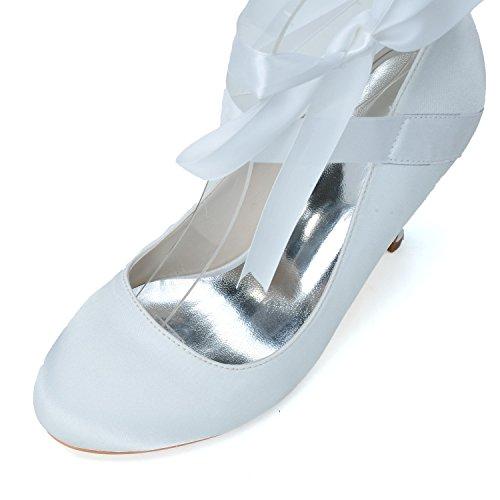 Qingchunhuangtang@ Chaussures à talons hauts en satin tempérament Wedding Party Parti Chaussures Chaussures Chaussures Prom Bandages White WeTIk6