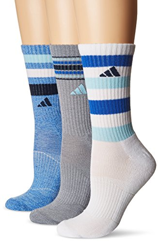 adidas Women's Cushioned 3-Pack Crew Socks, Blue Icey Blue Marl/Grey Clear Onix Marl/White/Icey Blue/Blue/Collegiate Navy, Medium