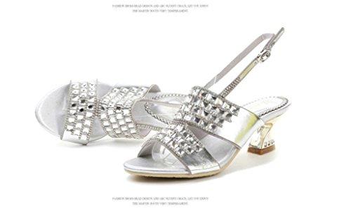 SHFANG Sandalias de las señoras Rhinestones finos con el cinturón de la hebilla Herradura y partido del banquete Formal Negro Blanco los 5cm Silver