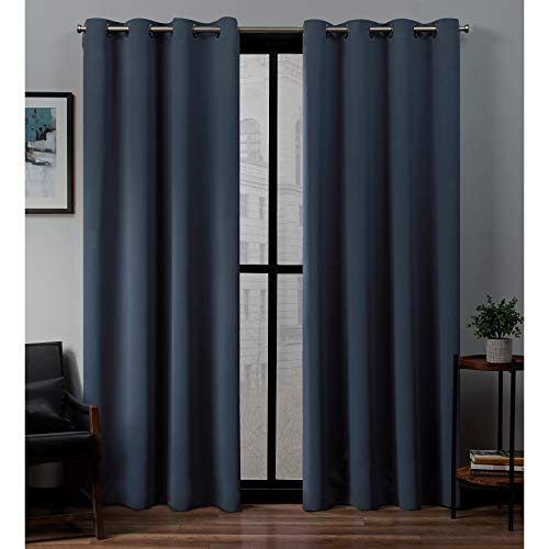 52u0022x84u0022 Sateen Woven Blackout Grommet Top Window Curtain Panel Pair Vintage Indigo - Exclusive Home