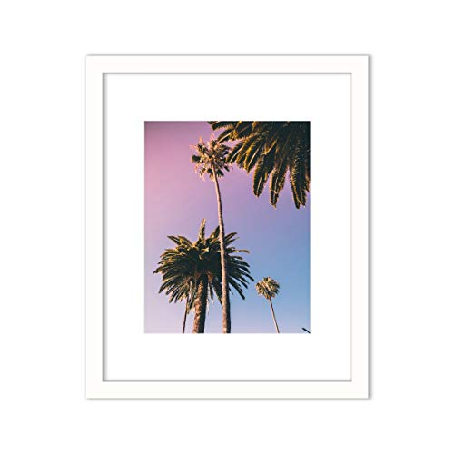 Humble Chic Framed Wall Decor - Art Picture Poster Matted in White Frame for Home Decorations Living Dining Room Bedroom Kitchen Bathroom Office - Sunset Palm Trees Ombre, 11x14 Frame with 8x10 Print