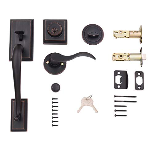 AmazonBasics Modern Handle Set and Deadbolt, Left-Hand Wave Door Lever, Oil Rubbed Bronze, Matte Black