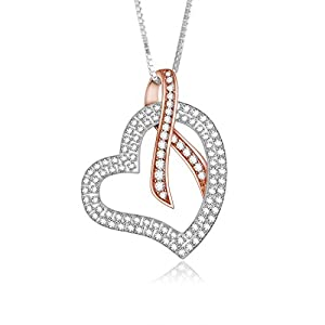 Adan Banfi 925 Sterling Silver Chain Jewelry Women Love Heart Ribbon Pendant Necklace