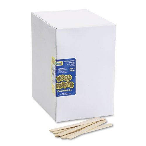 Chenille Kraft - Natural Wood Craft Sticks, 4 1/2 x 3/8, Wood, Natural, 1000/Box 3774-01 (DMi BX