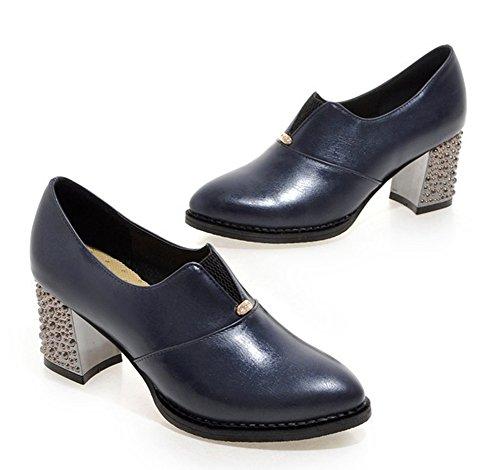 Aisun Damen Lederoptik Spitz Metall Mittlere Blockabsatz Oxford Pumps Halbschuhe Kurzschaft Stiefel Slipper Blau