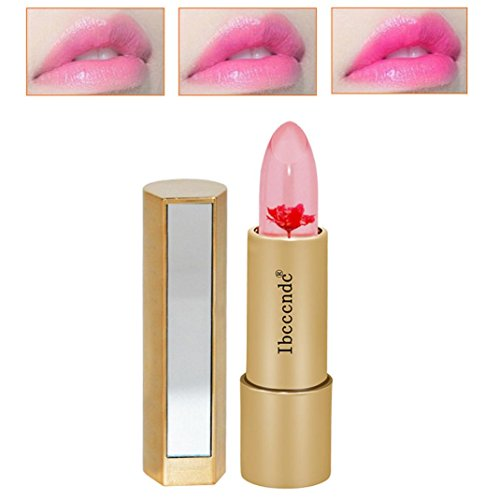 Fheaven MagicJelly Flower Lipstick Color Changing with Temperature Moisturizer Bright Lip Balm Lipstick Makeup (Red)