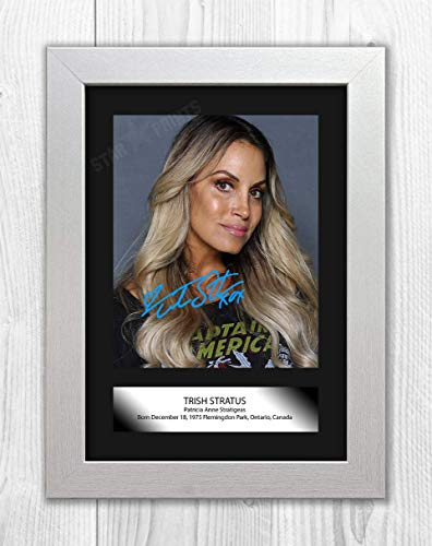 (Engravia Digital Trish Stratus WWE Poster with Reproduction Autograph Picture Photo A4 Print(White Frame))