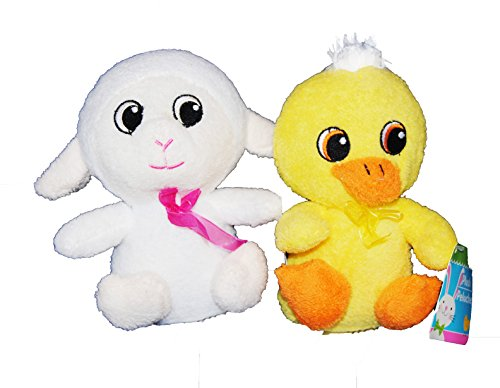 Party Now Soft Terry Cloth Spring Animals (White Lamb and Yellow Duck)